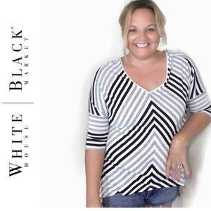 White House Black Market Black and Gray Stripe Top